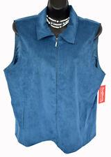 BonWorth Women's Fine Wale Blue Corduroy Zip Front Vest Size L Petite, NWT