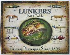 """LUNKER'S LURES"" - COLLECTIBLE METAL FISHING SIGN - WALL DECOR"