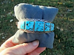 Chunky Signed AJ Largo Sterling Turquoise & Coral Navajo Stamped Cuff Bracelet