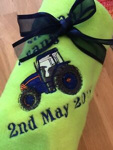 PERSONALISED TRACTOR EMBROIDERED FLEECE BABY BLANKET BOY/GIRL,GIFT,10 COLOURS