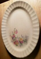 Oval Serving Platter Edwin M. Knowles China Co. Semi Vitreous USA Floral Pattern