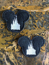 "2 Mickey Mouse Disney Castle Iron Sew On Patch 2.5""L x 2.75"" W Wedding White"