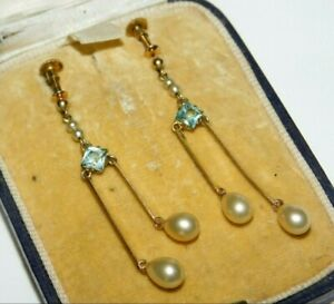 Antique 9ct Gold Victorian Glass Pearl Aquamarine Paste Screw Back Drop Earrings