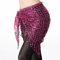 Belly Dancer Hip Scarf Dance Costume Stretchy Crochet Net Shawl Triangle Sequins