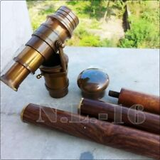 Vintage Brass Antique Style Telescope with Wooden Victorian Walking Cane Stick