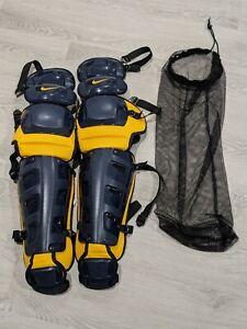 "NEW Nike Vapor 17"" Baseball Catchers Leg Guards Blue/Yellow Retail $350"
