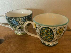 Lot of 2 Anthropologie Kebaya Mugs Tea Coffee Teal Green Floral Floral Footed