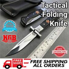 Russian Finka NKVD KGB Wit EDC Tactical Folding Pocket Knife Black Camping Steel