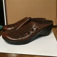 Privo by Clarks shoes womens 10M clogs mules wedges slip on brown leather