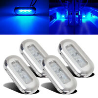4pcs Boat Marine Grade 12 volt Large Waterproof Cool Blue LED Courtesy Lights
