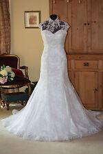 Justin Alexander Wedding Dress/Coverlet 8641 New Size 12 Alabaster/Silver