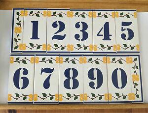 House Address Numbers Ceramic Tiles Handmade Flower Design