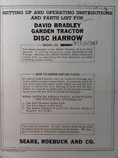 David Bradley Garden Tractor Disc Harrow Implement Owner Amp Part Manual 91757547