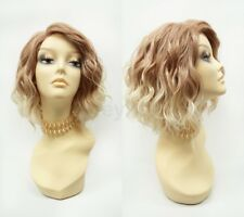 Wavy Short Lob Heat Resistant Lace Front Wig Strawberry Blonde Side Part 12""