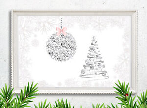 Christmas Picture Print Tree Bauble Diamanté Silver Pink Xmas Wall Decor A4