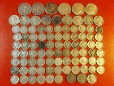 Huge US silver coin bullion LOT! Half Dollars Quarters Dimes 90 Coins! Mercury