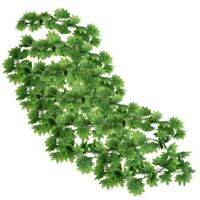 5X(5 Pcs Green Plastic Simulated Vine Plant Leaf Wall Hanging Ornament 2M X8Y2)