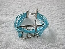 Ex-Display BLUE CORD & Tibetan Silver Infinity LOVE BRACELET Adjustable
