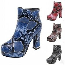 Fashion Womens Ankle Boots Snakeskin Print High Heels Round Toe Platform Shoes