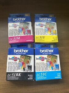 Sealed Genuine Brother LC51Y, LC51M LC51BK LC51C Ink Cartridges (Lot of 4) 2020