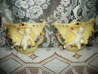 ANTIQUE GERMANY PORCELAIN CHERUB WALL POCKETS LUSTERWARE GARLANDS EARLY 1900's