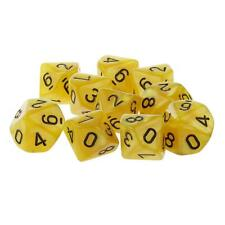 Set/10pcs Yellow Ten Sided Dungeons & Dragons D&D RPG Roleplay Game D10 Dice