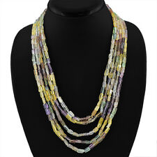 BEST QUALITY 450.00 CTS NATURAL 5 LINE RICH MULTICOLOR FLOURITE BEADS NECKLACE