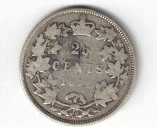 CANADA 1872H TWENTY FIVE CENTS QUARTER QUEEN VICTORIA STERLING SILVER COIN