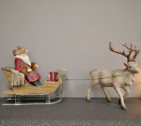 Traditional Christmas Ornament Santa Figure Sleigh Reindeer Festive Decoration