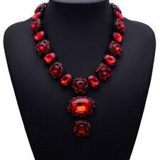 Rot, Glas & Strass, Statementkette, Halskette, Collier, Modeschmuck in schwarz