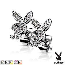Pair of Playboy Bunny Gem Encrusted Stud Post Earrings Piercings Surgical Steel