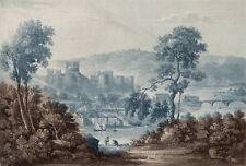 CHEPSTOW CASTLE 1821 Thomas Sutherland - C.V. Fielding ANTIQUE ENGRAVING