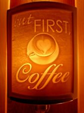 Porcelain Garden Lithophane Night Light Hand Made NR295 BUT FIRST COFFEE Bistro