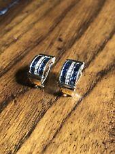 14k Gold Italian Diamond And Blue Sapphire Earrings