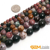 "Natural Ocean Jasper Gemstone Facetd Round Beads 15"" 6mm 8mm 10mm 12mm 14mm"