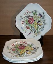 LOT OF 4 JOHNSON BROS WINDSOR WARE GARDEN BOUQUET SQUARE SALAD PLATES 7.5""