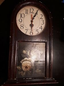 Vintage Mantle Shelf Clock Wood with Decorative Peony Flowers