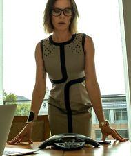 New Karen Millen khaki black eyelet smart office cotton pencil dress UK 10 £175