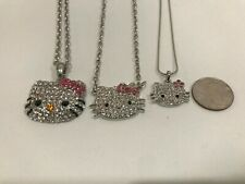 NEW 3X Beautiful rhinestone fashion style hello kitty necklace