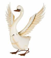 Garten Dekovogel SchwanDeko Gartendekoration Vogel Metall lackiert Weiß