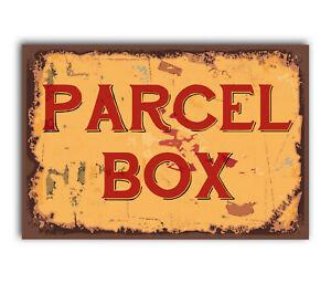 PARCEL BOX Vintage Metal Aluminium Plaque Sign For Front Door House Office Gate
