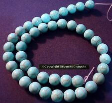 10mm Turquoise 42pcs Treated Chalk created round shaped beads 16 in BS057