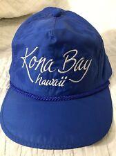 Vintage Trucker Hat Blue Vinyl Kona Bay Hawaii SnapBack Baseball Cap