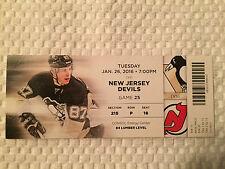 Pittsburgh Penguins/NJ Devils Ticket Stub 1/26/16 Featuring Sidney Crosby