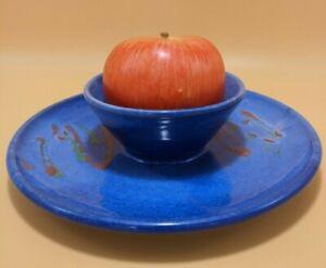 Australian SHEPHERD Pottery Chip n Dip SMALL Plate COLOURFUL PARTY Fun Glaze