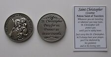 p 1x ST CHRISTOPHER POCKET TOKEN CHARM patron saint of travelers Missionary ganz
