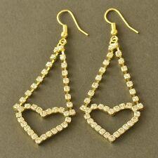 HOT 9K Yellow Gold Filled Swarovski Crystal Womens Heart Dangle Earrings,Z5265