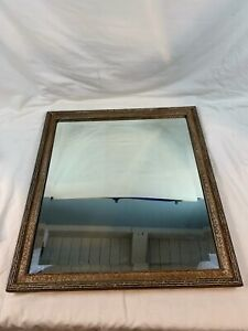 Vintage Large Black Gold Wall Beveled Mirror | Masculine Antique c801
