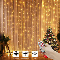 Window Curtain String Lights for Christmas Bedroom Wall Party Wedding Home Decor