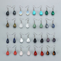1 Pair Water Drop Natural Stone Pendant Dangle Earring for Women Jewelry 13x22mm